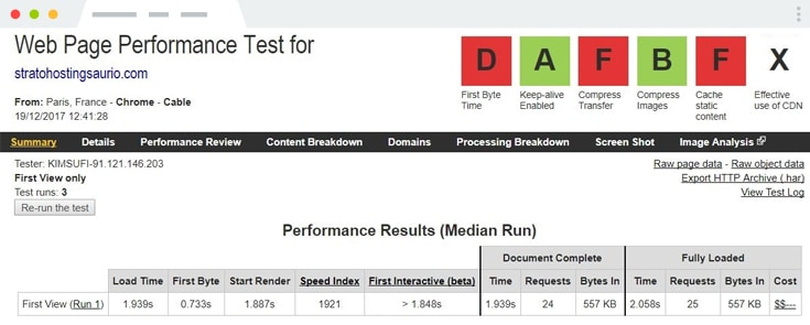 analisis strato webpagetest